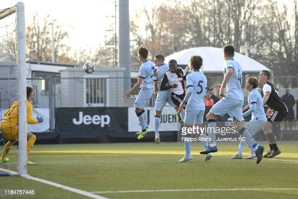 Paolo Gozzi Iweru of Juventus scores a goal during the UEFA Youth League match between Juventus U19 and Atletico Madrid U19 on November 26 2019 in...