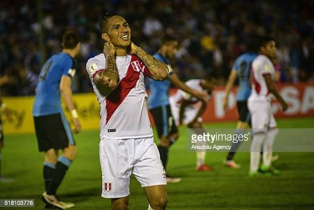 Paolo Guerra of Peru reacts after a match between Uruguay and Peru as part of FIFA 2018 World Cup Qualifiers at Centenario Stadium on March 29 2016...