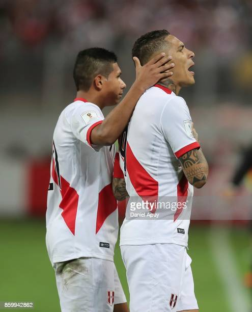 Paolo Guerrero and Edison Flores celebrate after goal during a match between Peru and Colombia as part of FIFA 2018 World Cup Qualifiers at...