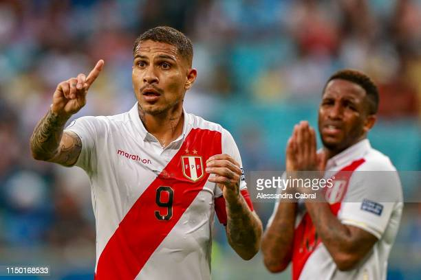 Paolo Guerrero and Jefferson Farfan of Peru react after a disallowed goal during the Copa America Brazil 2019 Group A match between Venezuela and...