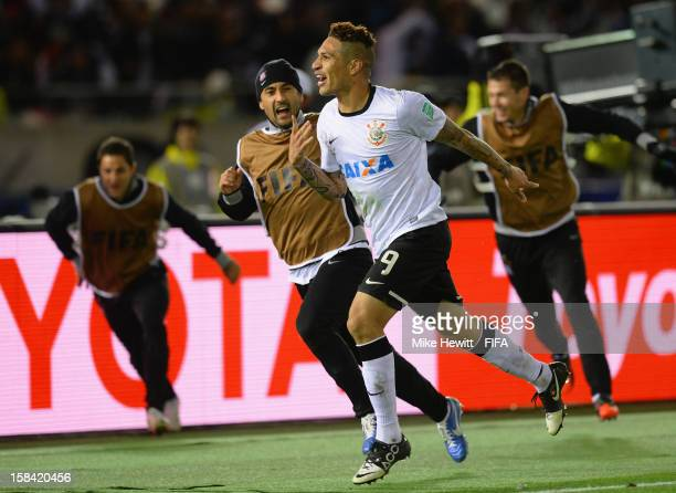 Paolo Guerrero of Corinthians celebrates after scoring during the FIFA Club World Cup Final Match between Corinthians and Chelsea at International...