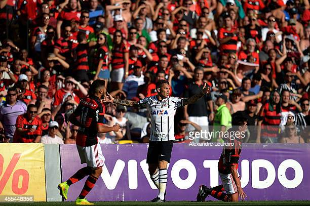Paolo Guerrero of Corinthians in reacts during the match between Flamengo and Corinthians as part of Brasileirao Series A 2014 at Maracana stadium on...