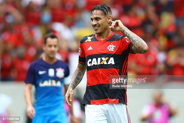 Paolo Guerrero of Flamengo celebrates a scored goal against Corinthians during a match between Flamengo and Corinthians as part of Brasileirao Series...