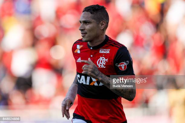 Paolo Guerrero of Flamengo celebrates a scored goal against Sport Recife during a match between Flamengo and Sport Recife as part of Brasileirao...