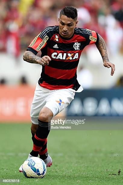 Paolo Guerrero of Flamengo controls the ball during a match between Flamengo and Vasco as part of Brasileirao Series A 2015 at Maracana Stadium on...