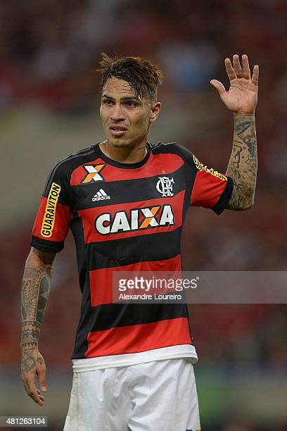 Paolo Guerrero of Flamengo in action during the match between Flamengo and Gremio as part of Brasileirao Series A 2015 at Maracana stadiumon July 18...