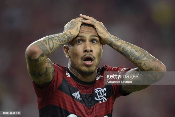 Paolo Guerrero of Flamengo reacts during the match between Flamengo and Sao Paulo as part of Brasileirao Series A 2018 at Maracana Stadium on July 18...