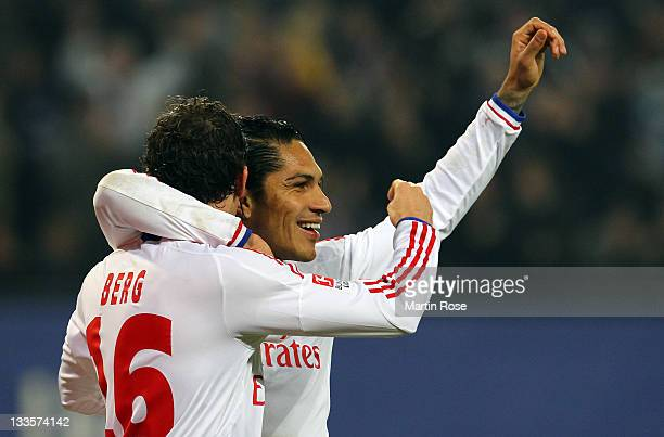 Paolo Guerrero of Hamburg celebrates after he scores his team's opening goal during the Bundesliga match between Hamburger SV and 1899 Hoffenheim at...