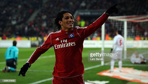 Paolo Guerrero of Hamburg celebrates after scoring his teams first goal during the Bundesliga match between 1 FC Koeln and Hamburger SV at...