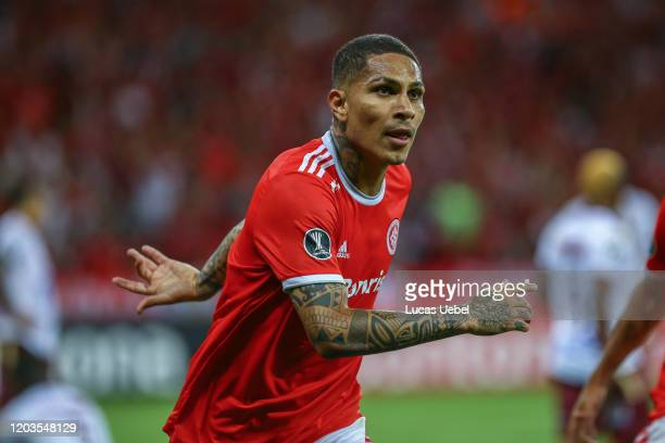 Paolo Guerrero of Internacional celebrates after scoring the first goal of his team during the match between Internacional and Tolima as part of Copa...