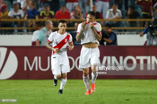 Paolo Guerrero of Peru celebrates after scoring during a match between Venezuela and Peru as part of FIFA 2018 World Cup Qualifiers at Monumental de...