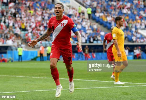 Paolo Guerrero of Peru celebrates after scoring his team's second goal during the 2018 FIFA World Cup Russia group C match between Australia and Peru...