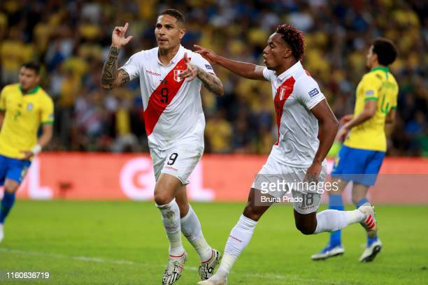 Paolo Guerrero of Peru celebrates after scoring the equalizer via penalty during the Copa America Brazil 2019 Final match between Brazil and Peru at...