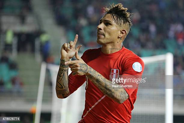 Paolo Guerrero of Peru celebrates after scoring the second goal of his team during the 2015 Copa America Chile quarter final match between Peru and...