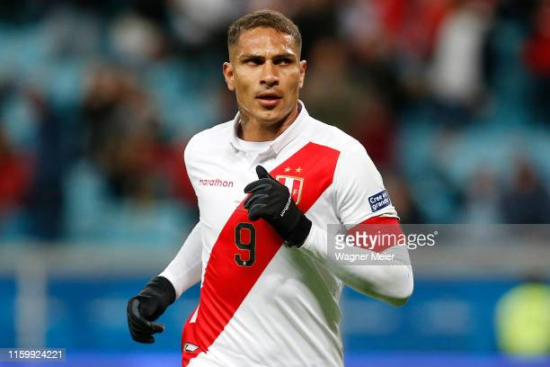 Paolo Guerrero of Peru celebrates after scoring the third goal of his team during the Copa America Brazil 2019 Semi Final match between Chile and...