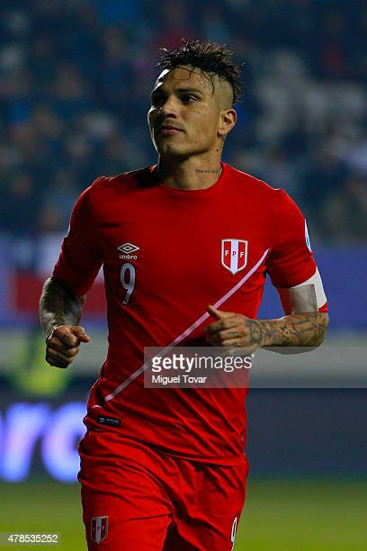 Paolo Guerrero of Peru celebrates after scoring the third goal of his team during the 2015 Copa America Chile quarter final match between Peru and...