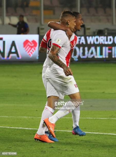 Paolo Guerrero of Peru celebrates with his teammate after scoring during 2018 FIFA World Cup Qualification match between Peru and Uruguay at National...
