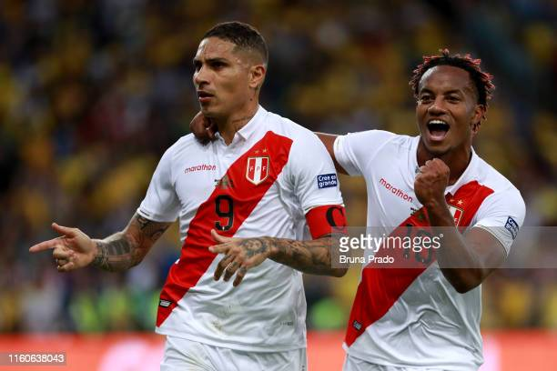 Paolo Guerrero of Peru celebrates with teammate Andre Carrillo of Peru after scoring the first goal of his team during the Copa America Brazil 2019...