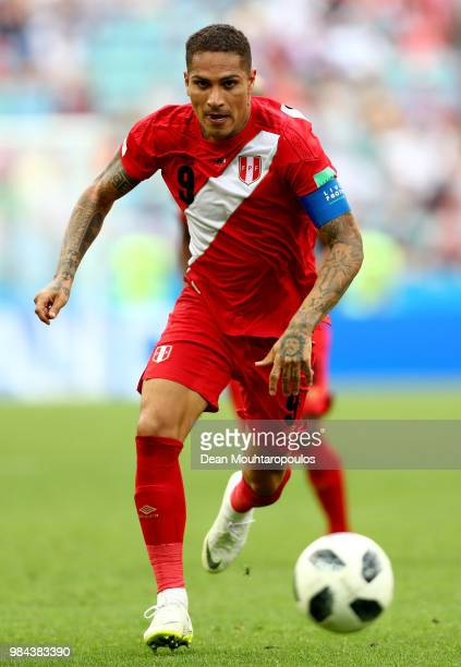 Paolo Guerrero of Peru chases the ball during the 2018 FIFA World Cup Russia group C match between Australia and Peru at Fisht Stadium on June 26...