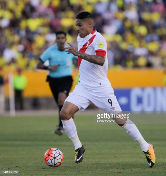 Paolo Guerrero of Peru drives the ball during a match between Ecuador and Peru as part of FIFA 2018 World Cup Qualifiers at Olimpico Atahualpa...