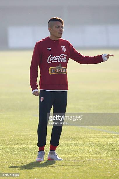Paolo Guerrero of Peru during a training session at Universidad de Chile Training Camp on June 27 2015 in Santiago Chile Peru will face Chile in the...