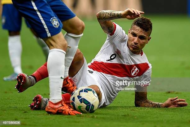 Paolo Guerrero of Peru fight for the ball during a match between Brazil and Peru as part of 2018 FIFA World Cup Russia Qualifiers at Arena Fonte Nova...