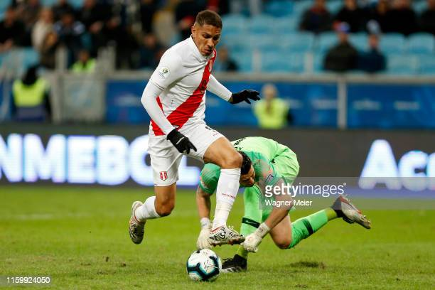 Paolo Guerrero of Peru fights for the ball with Gabriel Arias of Chile to score the third goal of his team during the Copa America Brazil 2019 Semi...