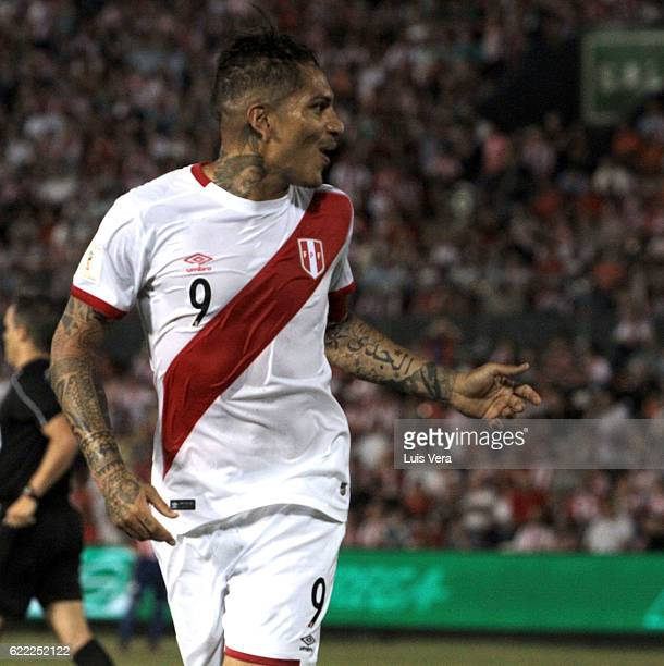 Paolo Guerrero of Peru gestures during a match between Paraguay and Peru as part of FIFA 2018 World Cup Qualifiers at Defensores del Chaco Stadium on...