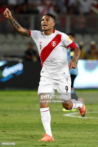Paolo Guerrero of Peru gestures during a match between Peru and Uruguay as part of FIFA 2018 World Cup at Nacional Stadium on March 28 2017 in Lima...