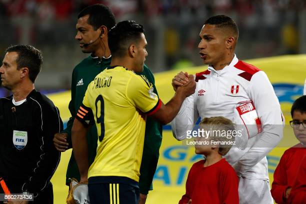 Paolo Guerrero of Peru greets Radamel Falcao of Colombia before the match between Peru and Colombia as part of FIFA 2018 World Cup Qualifiers at...