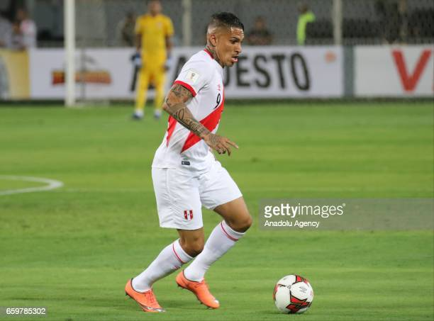 Paolo Guerrero of Peru in action during 2018 FIFA World Cup Qualification match between Peru and Uruguay at National Stadium in Lima Peru on March 28...