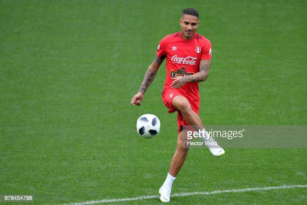 Paolo Guerrero of Peru drives the ball during a training session at Arena Khimki on June 19 2018 in Moscow Russia