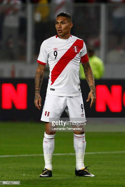 Paolo Guerrero of Peru looks on during a match between Peru and Colombia as part of FIFA 2018 World Cup Qualifiers at National Stadium on October 10...