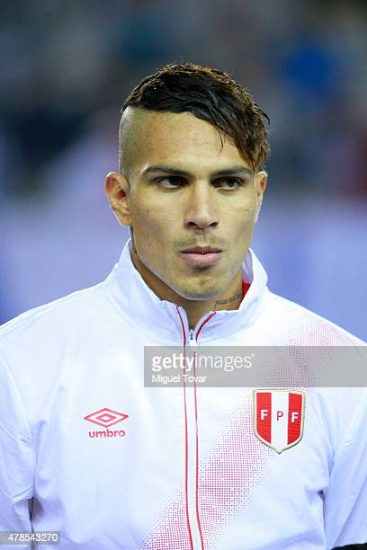 Paolo Guerrero of Peru looks on during the national anthem ceremony prior the 2015 Copa America Chile quarter final match between Peru and Bolivia at...