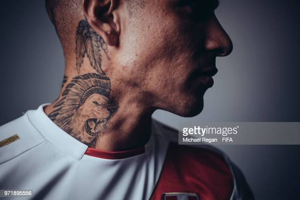 Paolo Guerrero of Peru poses during the official FIFA World Cup 2018 portrait session at on June 10, 2018 in UNSPECIFIED, Russia.