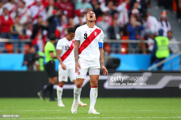 Paolo Guerrero of Peru reacts after Kylian Mbappe of France scored a goal to make it 10 during the 2018 FIFA World Cup Russia group C match between...