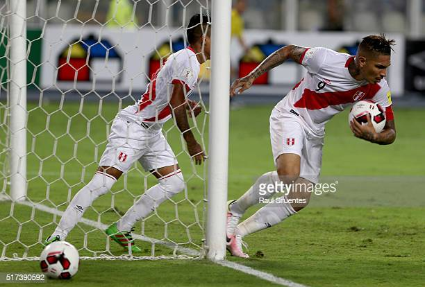Paolo Guerrero of Peru reacts after scoring the first goal of his team during a match between Peru and Venezuela as part of FIFA 2018 World Cup...