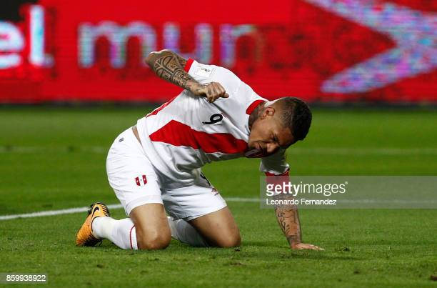 Paolo Guerrero of Peru reacts during match between Peru and Colombia as part of FIFA 2018 World Cup Qualifiers at National Stadium on October 10 2017...