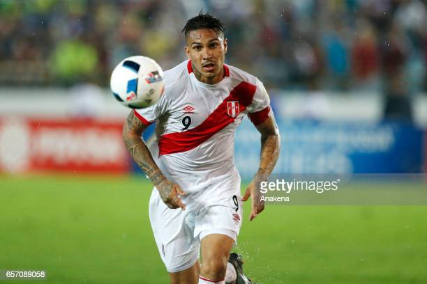 Paolo Guerrero of Peru runs for the ball during a match between Venezuela and Peru as part of FIFA 2018 World Cup Qualifiers at Monumental de Maturin...