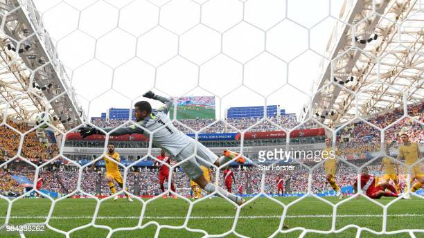 Paolo Guerrero of Peru scores his team's second goal past Mathew Ryan of Australia during the 2018 FIFA World Cup Russia group C match between...