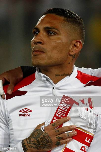 Paolo Guerrero of Peru sings the national anthem before match between Peru and Colombia as part of FIFA 2018 World Cup Qualifiers at National Stadium...