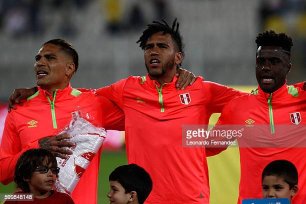 Paolo Guerrero Pedro Gallese and Christian Ramos of Peru sing the national anthem prior to a match between Peru and Ecuador as part of FIFA 2018...