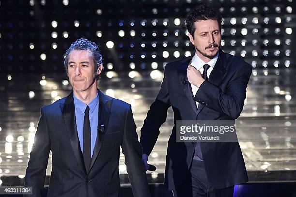 Paolo Kessisoglu and Luca Bizzarri attend the thirth night of 65th Festival di Sanremo on February 12, 2015 in Sanremo, Italy.