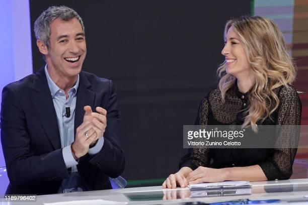 Paolo Kessisoglu and Mia Ceran attend Quelli Che Il Calcio TV Show on November 24 2019 in Milan Italy