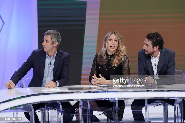 Paolo Kessisoglu Mia Ceran and Luca Bizzarri attend Quelli Che Il Calcio TV Show on November 24 2019 in Milan Italy