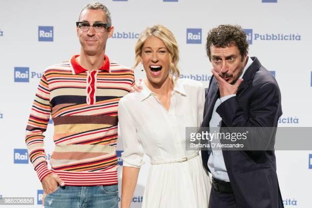 Paolo Kessisoglu Mia Ceran and Luca Bizzarri attend the Rai Show Schedule presentation on June 27 2018 in Milan Italy
