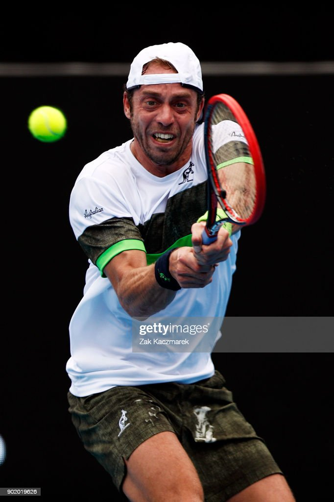 Paolo Lorentzi of Italy plays a backhand in his first round match against Jordan Thompson of Australia during day one of the 2018 Sydney International at Sydney Olympic Park Tennis Centre on January 7, 2018 in Sydney, Australia.