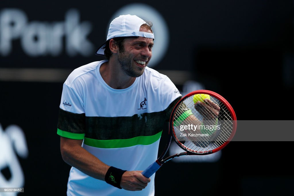 Paolo Lorentzi of Italy prepares to serve in his first round match against Jordan Thompson of Australia during day one of the 2018 Sydney International at Sydney Olympic Park Tennis Centre on January 7, 2018 in Sydney, Australia.