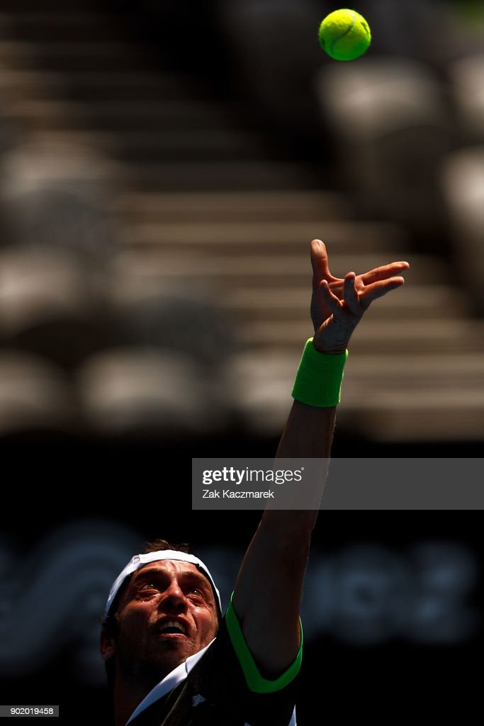 Paolo Lorentzi of Italy serves in his first round match against Jordan Thompson of Australia during day one of the 2018 Sydney International at Sydney Olympic Park Tennis Centre on January 7, 2018 in Sydney, Australia.