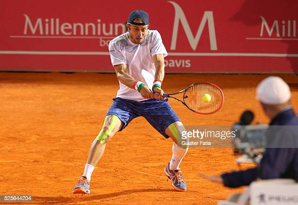 Paolo Lorenzi from Italy in action during the match between Leonardo Mayer and Paolo Lorenzi for Millennium Estoril Open at Clube de Tenis do Estoril...